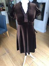 John Rocha Debenhams Brown Velvet Ruffle Front Tea Dress Size 16