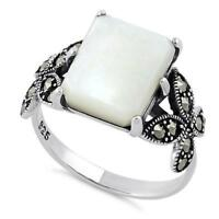 Melchior 925 Sterling Silver Mother of Pearl Square Butterfly Marcasite Ring