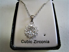 Lab Created CZ Necklace Solitaire Pendant Round Single