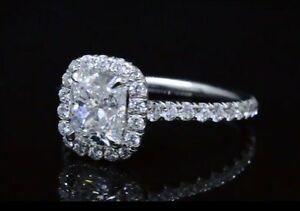2.10ct Natural Cushion Halo Pave Diamond Engagement Ring - GIA Certified