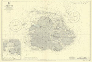 Antigua Falmouth English Harbour West Indies ADMIRALTY sea chart 1954 (1968) map