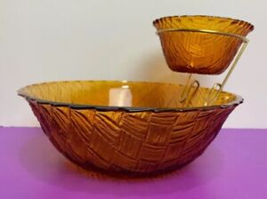 Glass Basket Weave Chip and Anchored Dip Bowl Marigold Brown