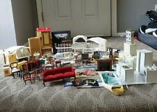 See All Pics Huge Lot Of Vintage Doll House Furniture & Accessories