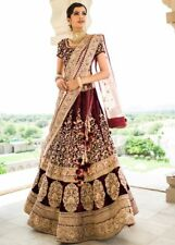 Maroon Bridal Lengha Choli Dupatta Set Indian Wedding Wear Women's Lehenga S817