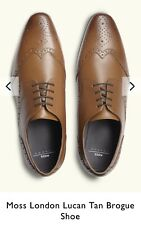 Moss London Lucan Tan Brogue Shoe Size 8