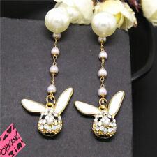 Crystal Betsey Johnson Stand Earrings Gift New Cute 3D Animal Rabbit Ab Girl