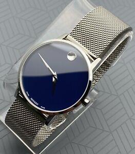 Swiss Movado Museum Classic, Blue Dial, S.S Mesh Bracelet, Men's Model # 0607349
