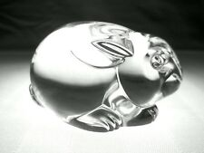 STEUBEN Glass RABBIT   Signed Crystal Hand Cooler Paperweight   Bunny Hare