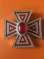 Galanos Maltese Cross Crystal Brooch