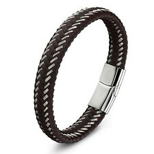 Bracelet pour homme en cuir marron et acier inoxydable 21 cm fermoir magnétique