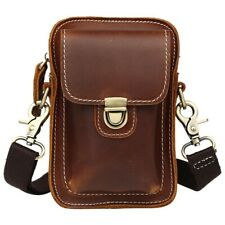 Men Real Leather Travel Waist Bag Fanny Bum Pack Shoulder Bag Cross Body Bag