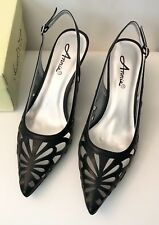NEW Black Cutout Slingback Pointed Toe Heels by Annie Shoes Size 8.5M