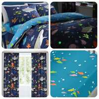 Bedlam SEA LIFE Kids Childrens Glow in the Dark Bedding / Pencil Pleat Curtains