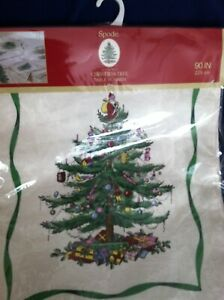 """Spode Damask Cloth Christmas Tree Holly Table Runner Ivory 90"""" x 14"""" - NEW!"""