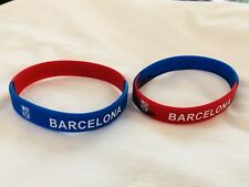 FC BARCELONA Wrist Band Rubber Band 1 Pair Fit Children To Adult Brand New.