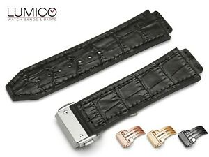 For HUBLOT Watch BLACK Rubber Leather Strap Band BIG BANG FUSION Clasp All SIZES