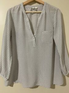 JOIE Navy and Off White Silk Polka Dot Blouse S