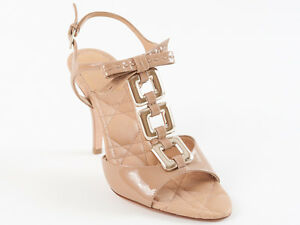 New Dior Cannage Chain Beige Patent Leather Sandals 35.5 US 5 .5