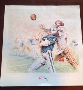 The Game Yale Vs Harvard Football Lithograph Art Print Mark Reevers