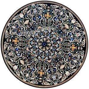 60 Inch Marble Reception Table Top Inlay with Gemstones Work Patio Dining Table