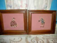 VINTAGE NEEDLEPOINT FRENCH ROMANTIC COUPLE PINK WALNUT WOOD ANTIQUE FRAME