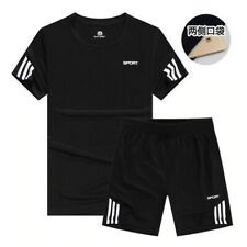 Sports T-Shirt Men's Suits Short Sleeve 2Pcs/Set Running Tops Men Casual Shorts