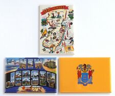 Greetings from New Jersey Fridge Magnet Set travel souvenir flag map