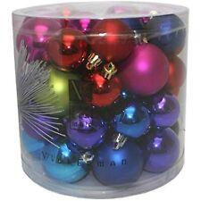 "Vickerman 50 Piece,1.5""/2"" Multi-Color Shiny Matte Ball Christmas Tree Ornament"