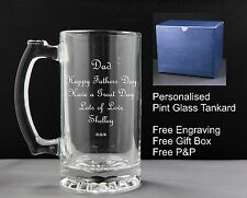 Personalised Glass Pint Tankard, Fathers Day Gift