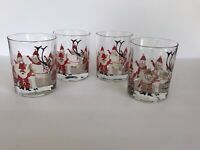 Vtg Georges Briard Set of 4 Santa Christmas Double Old Fashioned Rocks Glasses