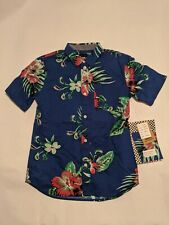 Vans New Trap Floral Short Sleeve Boy's Shirt Youth Medium 10-12 Sodalite Blue