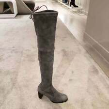 $865 Stuart Weitzman Slate Suede Tipland Over the Knee Tall Boots Size 7 NEW