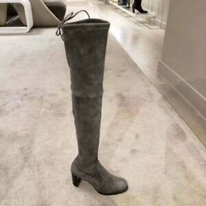 $865 Stuart Weitzman Slate Suede Tipland Over the Knee Tall Boots Size 8 NEW