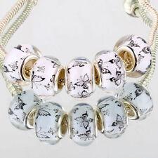 Simple butterfly 5pcs SILVER MURANO bead LAMPWORK fit European Charm Bracelet