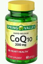 New Spring Valley Rapid Release CoQ10  200 mg Heart Health 60 Softgels exp:01/20
