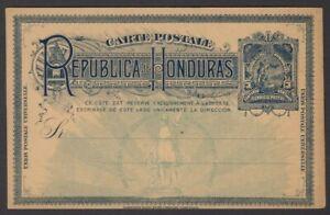 Honduras 1891 Columbus sighting Honduras 3c blue postal card unused HG #14