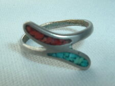 VINTAGE TURQUOISE & CORAL CHIP INLAY RING BAND SIZE 7