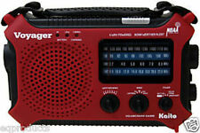 New HOT RED Kaito KA500 AM/FM Solar Crank NOAA Weather Alert Radio & LED Lamp!