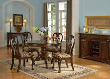 NEW 5PC ELEANORE II BROWN CHERRY FINISH WOOD ROUND PEDESTAL DINING TABLE SET