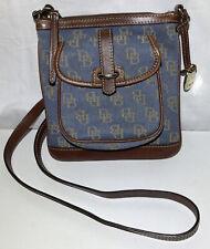 Dooney & Bourke DB Denim Blue Canvas Leather Zip Crossbody