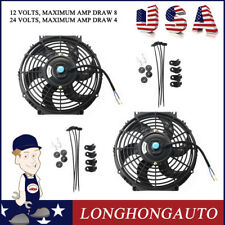 "2X 10"" inch Universal Slim Radiator Fan Push Pull Electric Radiator Cooling 12V"