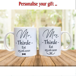 Personalised Mr & Mrs Wedding Present Pack of 2 Mugs His and Her Newlyweds Gift