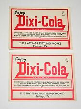 Set of 2 Dixi-Cola Soda Soft Drink Bottle Label NOS 1950s Hastings, Pa Unused