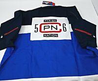 Parish Nation white blue camp button Woven Shirt mens XL collared PN 56
