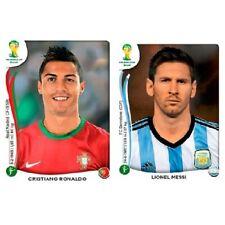PANINI WORLD CUP BRASIL STICKERS 2014 CRISTIANO RONALDO # 523 & MESSI # 430 RARE