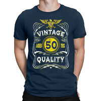 Mens 50th Birthday T-Shirt AGED 50 YRS Vintage Quality Funny Gift Top Present