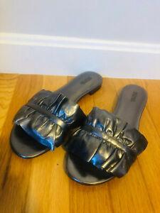 Michael by Michael Kors Leather Bella Slide Ruffles Gunmetal Sandals Size 9M