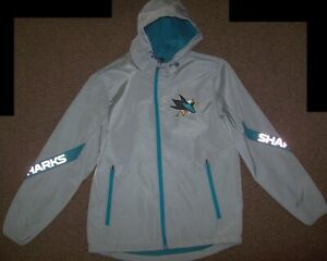 SAN JOSE SHARKS Hooded Jacket GRAY with REFLECTIVE SHARK Logos MEDIUM