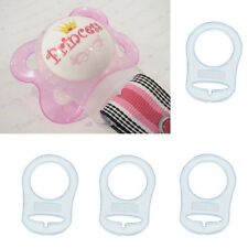 3pcs Clear Silicone Nuk Button MAM Ring Dummy Pacifier Holder Clip Adapter