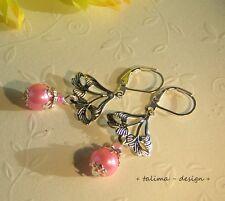 Ohrringe Jugendstil  Ornament rosa Perlen versilbert  romantisch +handmade+